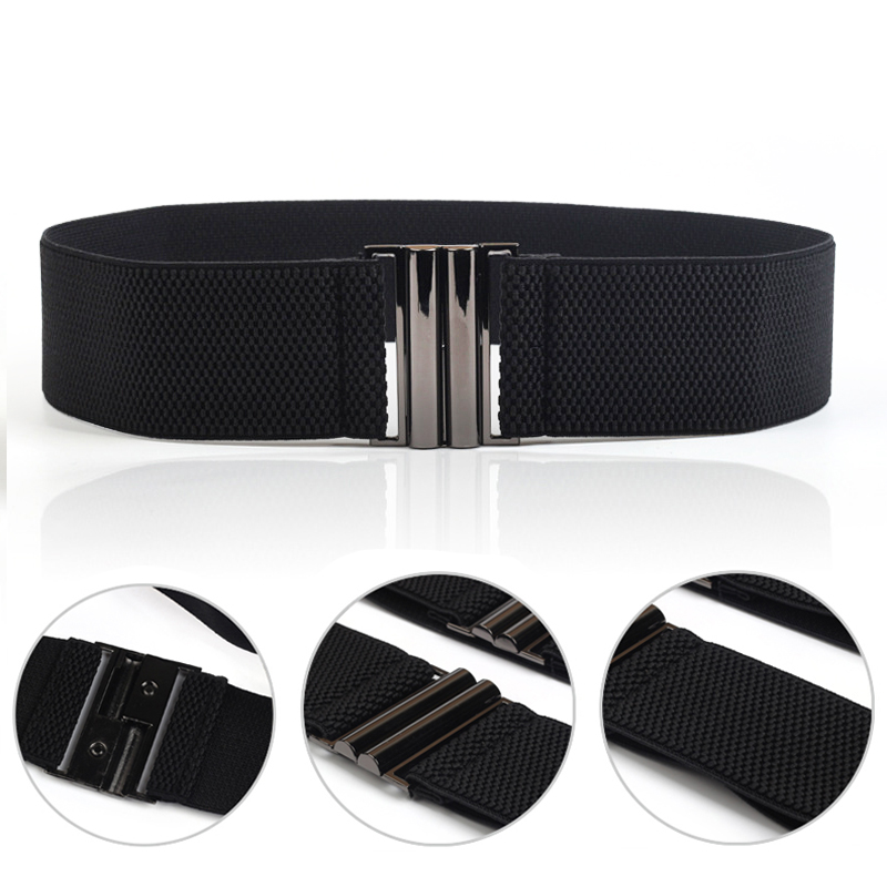 Women's Black Waist Belts Dress Waist Belts For Women Female Lady Elastic Buckle Cummerbund Women Waistbands Cinturon Mujer