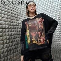 QING MO Printing T Shirt Women Black Long Sleeve Shirt 2019 Spring Split Pullovers Women Patchwork Shirt Women Casual TopsQF770