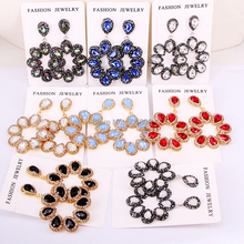 4 Pairs ZYZ E8219 New Flower Shaped Cat Eye Stone High Quality Rhinestone Round Circle Earrings For Women