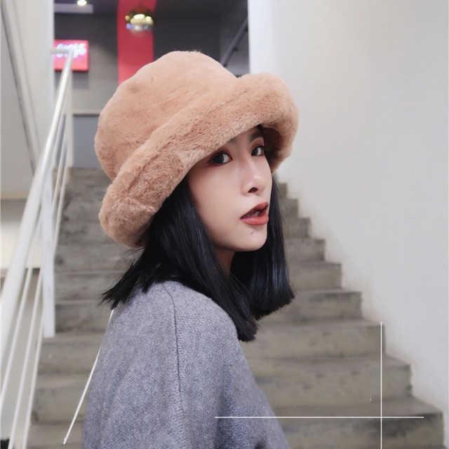 a9cc8b3bbadf9c All-match New Pattern Flat Plush Hat Woman winter Solid Color Keep Warm  Fisherman Fur