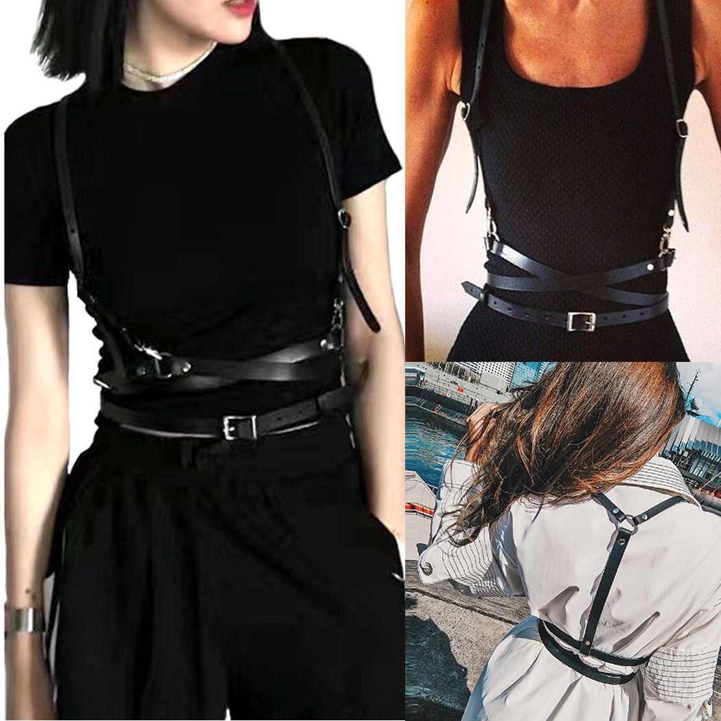 UK Faux Leather Cage Vest Chest Sculpting Body Harness Adjustable Strap Waist   Belt   Cincher Clothing Accessories