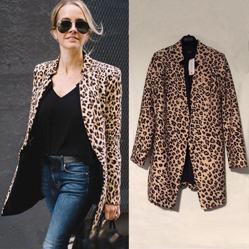 Fashion Women Leopard Print Sexy Winter Warm Wind Coat Cardigan Long Coat