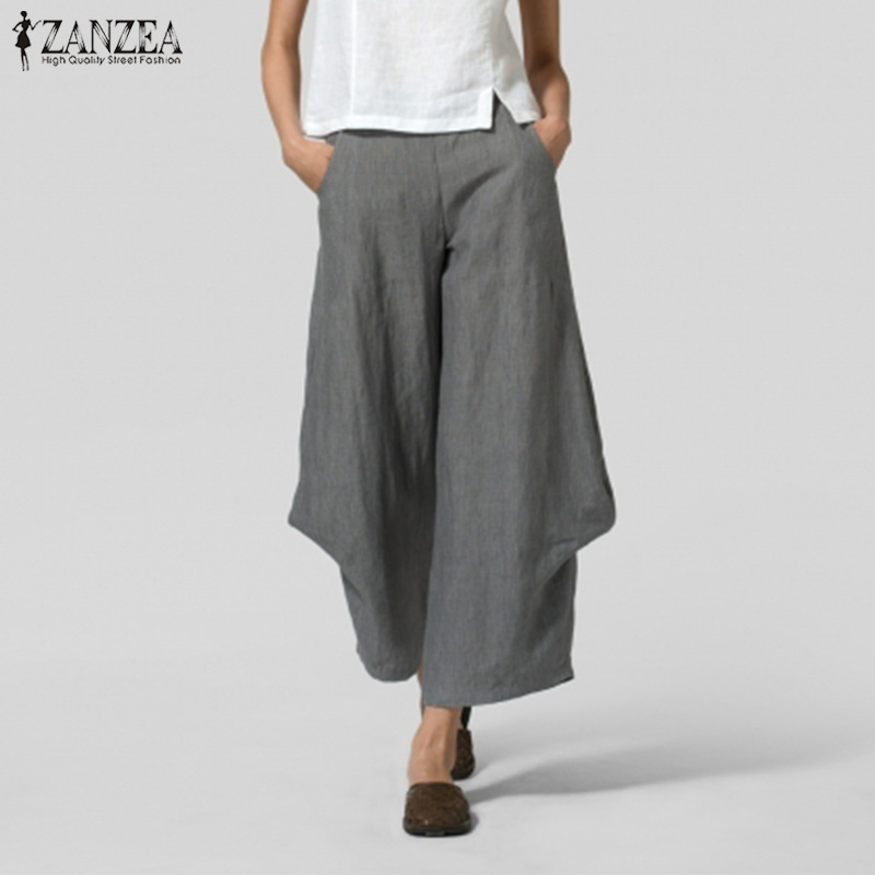 ZANZEA Women Casual   Wide     Leg     Pants   Spring Elastic Waist Pockets Solid Ruffle Trousers Ladies Work Pantalon Harem   Pants   Plus Size