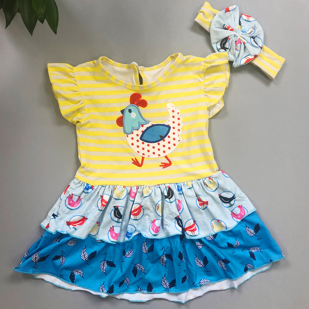 Baby Girl Dress Birthday Dress Chicken Pattern Yellow Butterfly Sleeves With Headband CONICE NINI Baby Dress Baby Dresses Girl