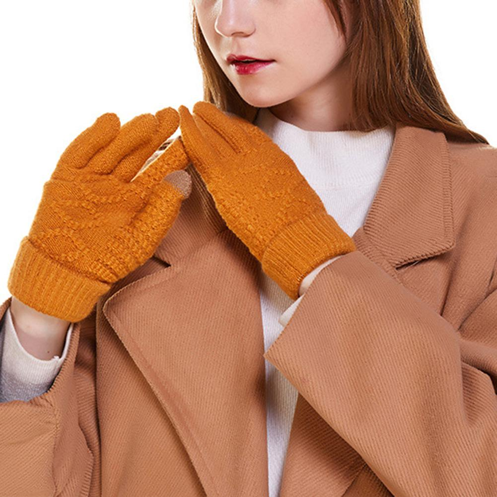 MISSKY Women Gloves Winter Knitted Gloves Solid Color Touch Screen Telefingers Gloves Ladies Warm Mittens