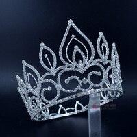 Australian Rhinestone Tiaras Pageant Crowns Full Round Hairwear Fashion Jewelry Hair Accessories For Beauty Women Girl 02393