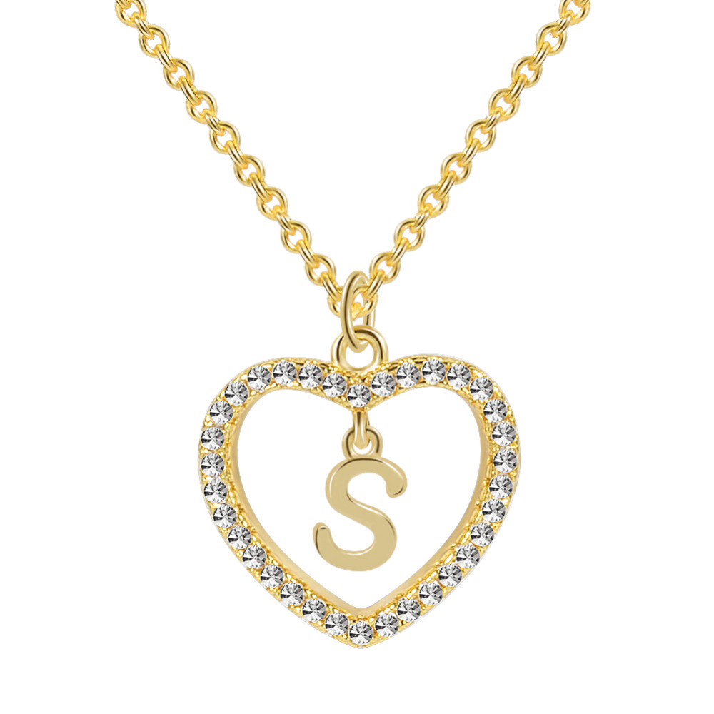LOULEUR A To Z 26 Letter Name Necklaces & Pendant For Women Girl Fashion Long Chain Heart Necklaces Cubic Zirconia DIY Jewelry