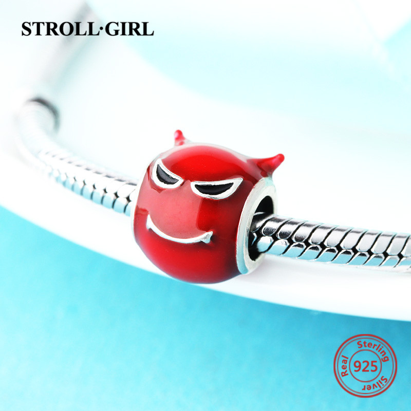 Fit original Pandora Bracelet silver 925 demon charms with red enamel beads DIY fashion jewelry making for Valentine 39 s Day gift in Beads from Jewelry amp Accessories