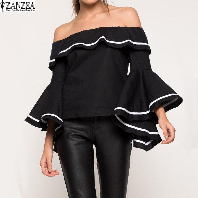 ZANZEA Women Blouse Shirt Summer Sexy Slash Neck Butterfly Sleeve Shirts Ruffle Flouncing Off Shoulder Elegant Party Tops S-5XL
