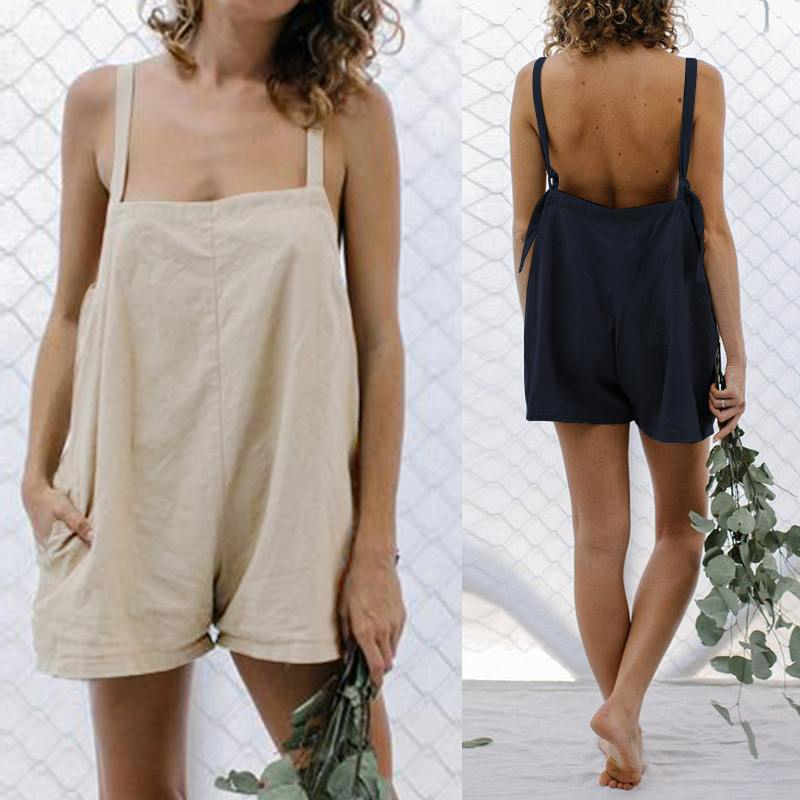 Oversized Women Casual Solid   Jumpsuits   Celmia 2019 Summer Beach Short Rompers Loose Sleeveless Playsuits Vintage Overalls S-5XL