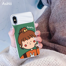 Luxury Phone Case For iPhone X XS Max XR Glass Mirror Cute Cartoon Back Cover TPU Tempered 7 8 Plus