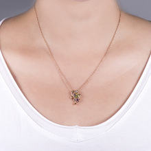 Bohemian Sapphire Amethyst Pendant 18K Rose Gold Leaf Pendant Colorful Gemstone for Women Chalcedony Collier Amethyste Pendants