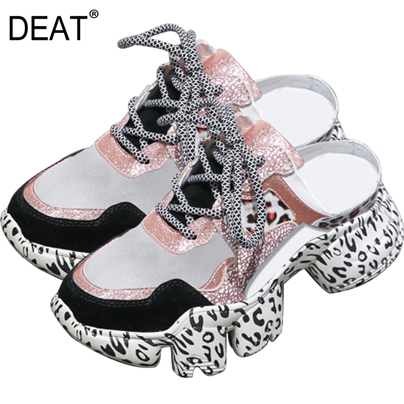 DEAT 2019New Spring Summer Round Toe Shallow Mesh Leopard Bandage Mixed Colors Wedges Heels Slippers