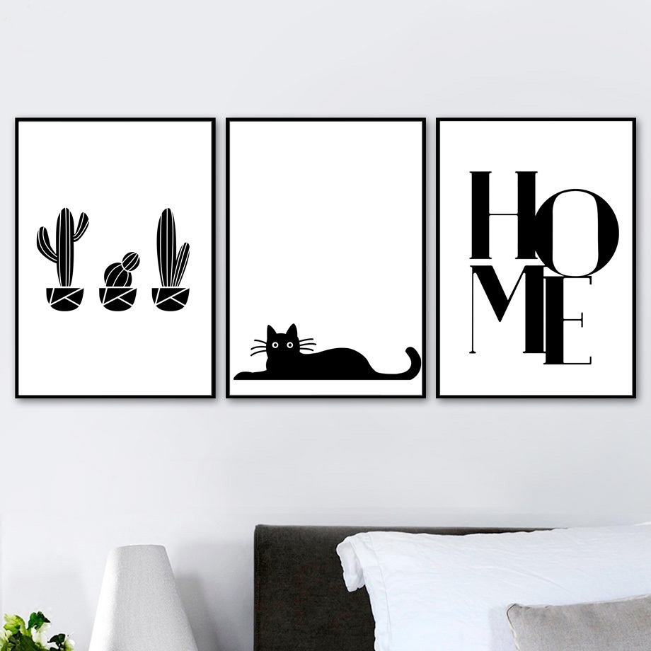 Tropical Cactus Cat Home Black White Wall Art Canvas Painting Nordic Posters And Prints Wall Pictures For Living Room Home Decor in Painting Calligraphy from Home Garden