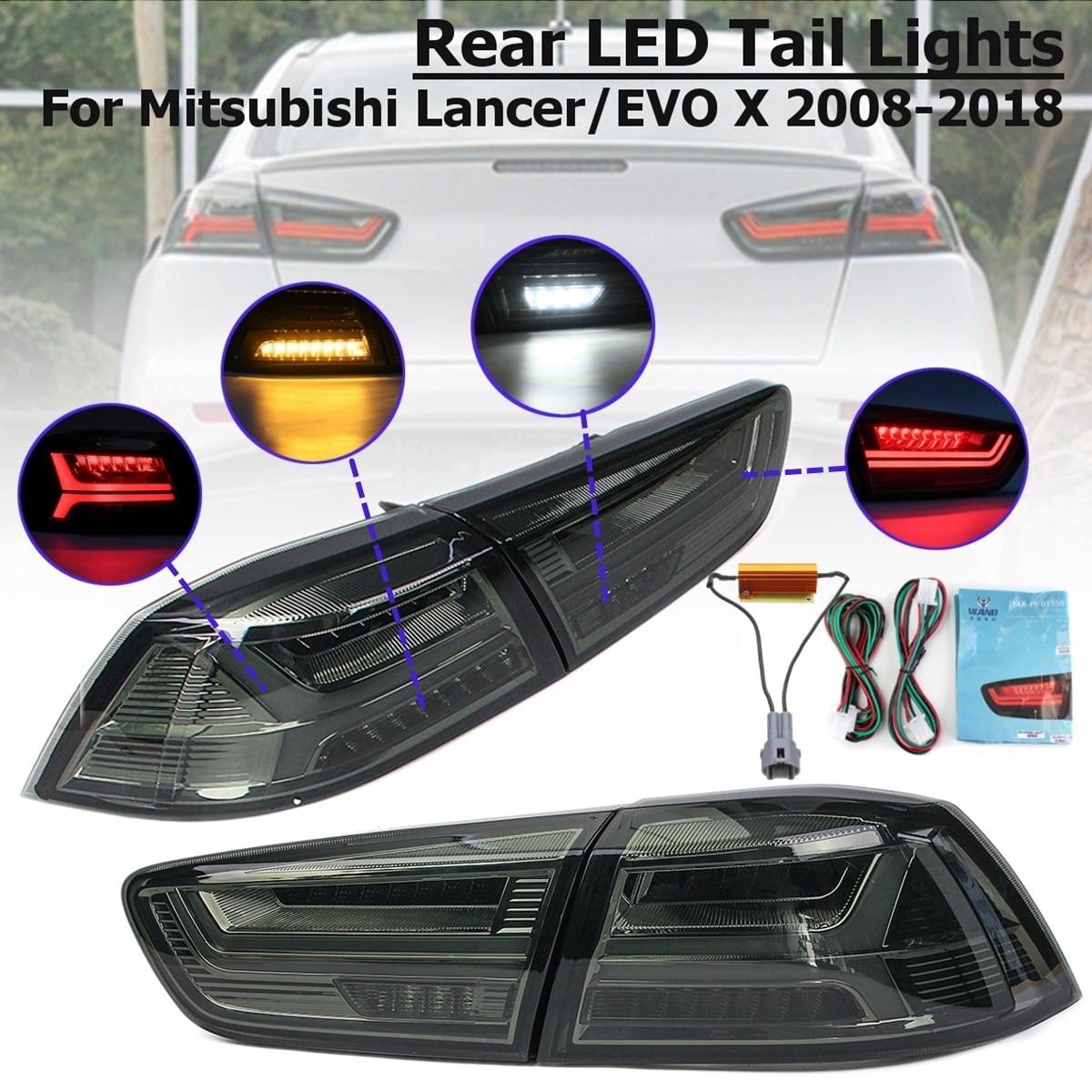 1 пара для Mitsubishi Lancer EVO x 2008-2017 задний светодиодный задний фонарь тормозной фонарь лампа задний фонарь светодиодные фары дневного света Стоп ...