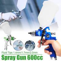 7 In 1 HVLP 1.4MM 1.7MM 2MM Nozzle Air Spray G un Paint Sprayer 600ml Gravity Feed Airbrush Kit Car Furniture Painting