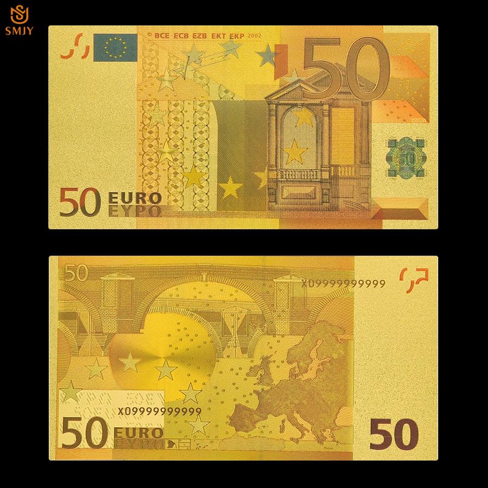 Euro falso ouro moeda mundial papel bill 50 europeu folha de ouro nota banco dinheiro coleção de notas