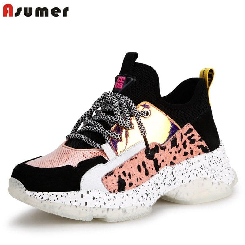 ASUMER جديد 2019 الجلد المدبوغ جلد البقر المرأة رياضية أحذية مفلكنة الدانتيل يصل منصة حذاء رياضة السيدات أحذية الصيف حذاء كاجوال-في أحذية مطاطية نسائية من أحذية على  مجموعة 1