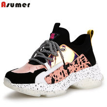 ASUMER New 2019 Suede Cow Leather Women sneakers Vulcanized shoes lace up platform sneakers ladies shoes summer casual shoes(China)