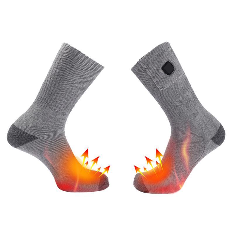 Chaussettes chauffantes électriques en coton épaissi chaussettes de Ski de Sport hiver chauffe-pieds électrique chaussette chauffante batterie puissance hommes femmes