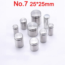 In Stock ! 50PCS 25mmX25mm Stainless Steel Hollow Advertisement Nails Barrel Screws Glass Mirror Standoff Pins