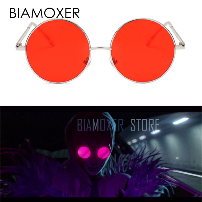 Biamoxer Game LOL S8 League Legends K/DA Kda Evelynn Red Sunglasses Glasses Cosplay Prop Gifts