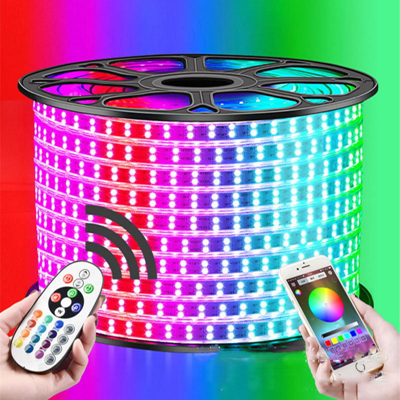 13-30M Double Row RGB LED Strip 96LEDs/M 5050 220V Color Change Light Tape IP67 Waterproof LED Rope Light +IR Bluetooth Control13-30M Double Row RGB LED Strip 96LEDs/M 5050 220V Color Change Light Tape IP67 Waterproof LED Rope Light +IR Bluetooth Control