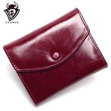 Carteira feminina de couro legítimo, carteira vintage de marca de luxo com compartimento para moedas, carteira para viagem