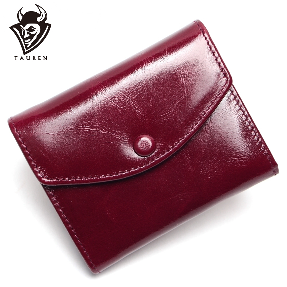 Vintage Oil Wax Genuine Leather Wallet Women Luxury Brand Coin Purse Mini Travel Wallet Womens Wallets And Purses