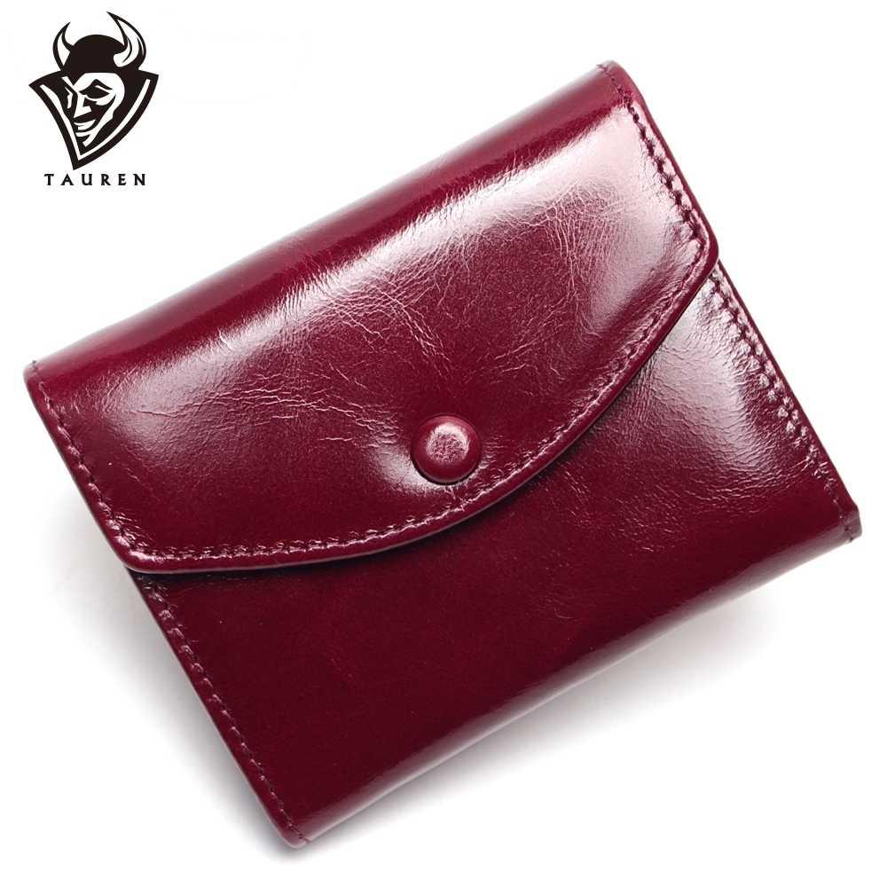 Vintage Öl Wachs Echtem Leder Brieftasche Frauen Luxus Marke Geldbörse Mini Reise Brieftasche Frauen Brieftaschen Und Geldbörsen