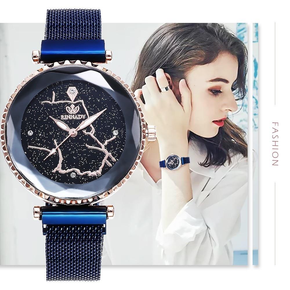 Luxury Mesh Ladies Clock Magnet Buckle Starry Diamond Geometric Surface Casual Dress Quartz Wristwatch Women Watches Blue Watch