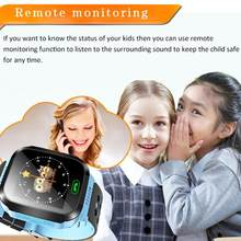 Kids Smart Watch Wristwatch 1.44 Inches Touch Screen LBS Positioning Watch Lighting SOS Watch SIM Calls Voice Chat for Children(China)