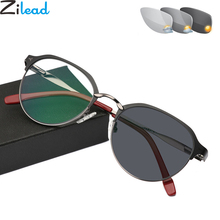 Zilead Retro โลหะ Photochromic แว่นตาอ่านหนังสือแว่นตากันแดดผู้ชายขับรถการเปลี่ยนสี Presbyopic แว่นตา Unisex