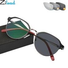 Zilead レトロ金属フォトクロミック累進老眼鏡サングラス男性運転変色老眼眼鏡ユニセックス