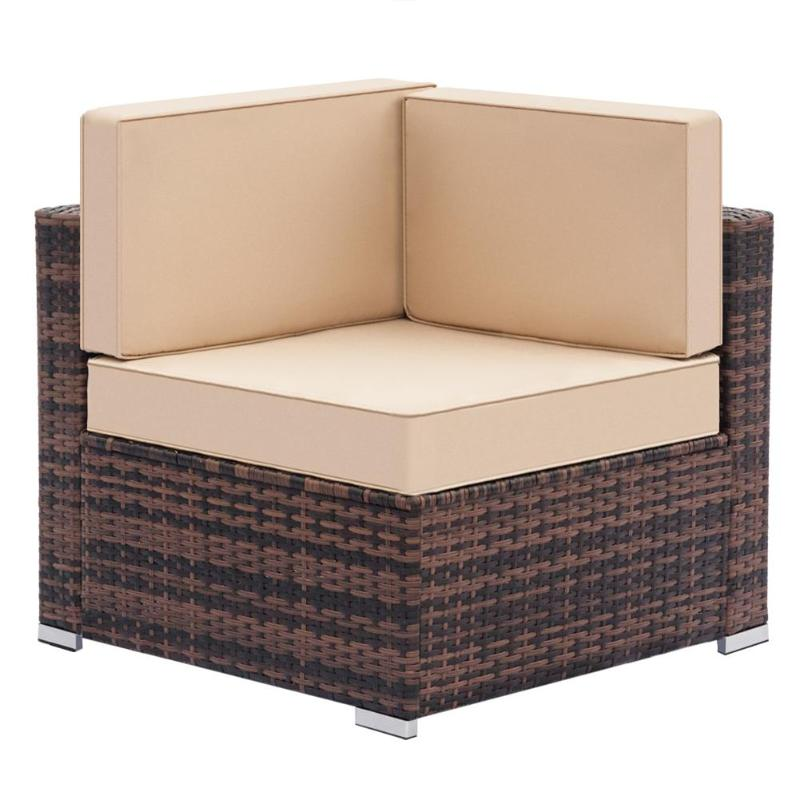 Weaving Rattan Left Corner Sofa Vintage Funiture Bedroom Balcony Mini-Sofa Simple Single Sofa Chair for Living Room