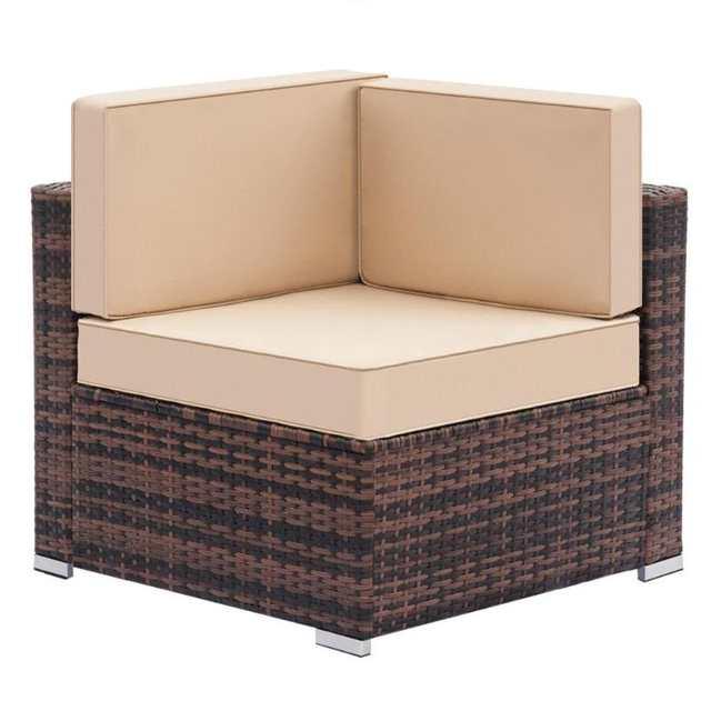 Weaving Rattan Left Corner Sofa Vintage Funiture Bedroom Balcony Mini Simple Single Chair For Living Room