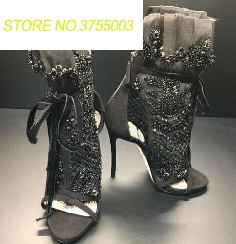 Luxury Black Crystal Cover Ladies Lace Up High Heel Boots Elegant Black Lace Women Peep Toe Ankle Boots Ankle Bandage BootsLuxury Black Crystal Cover Ladies Lace Up High Heel Boots Elegant Black Lace Women Peep Toe Ankle Boots Ankle Bandage Boots