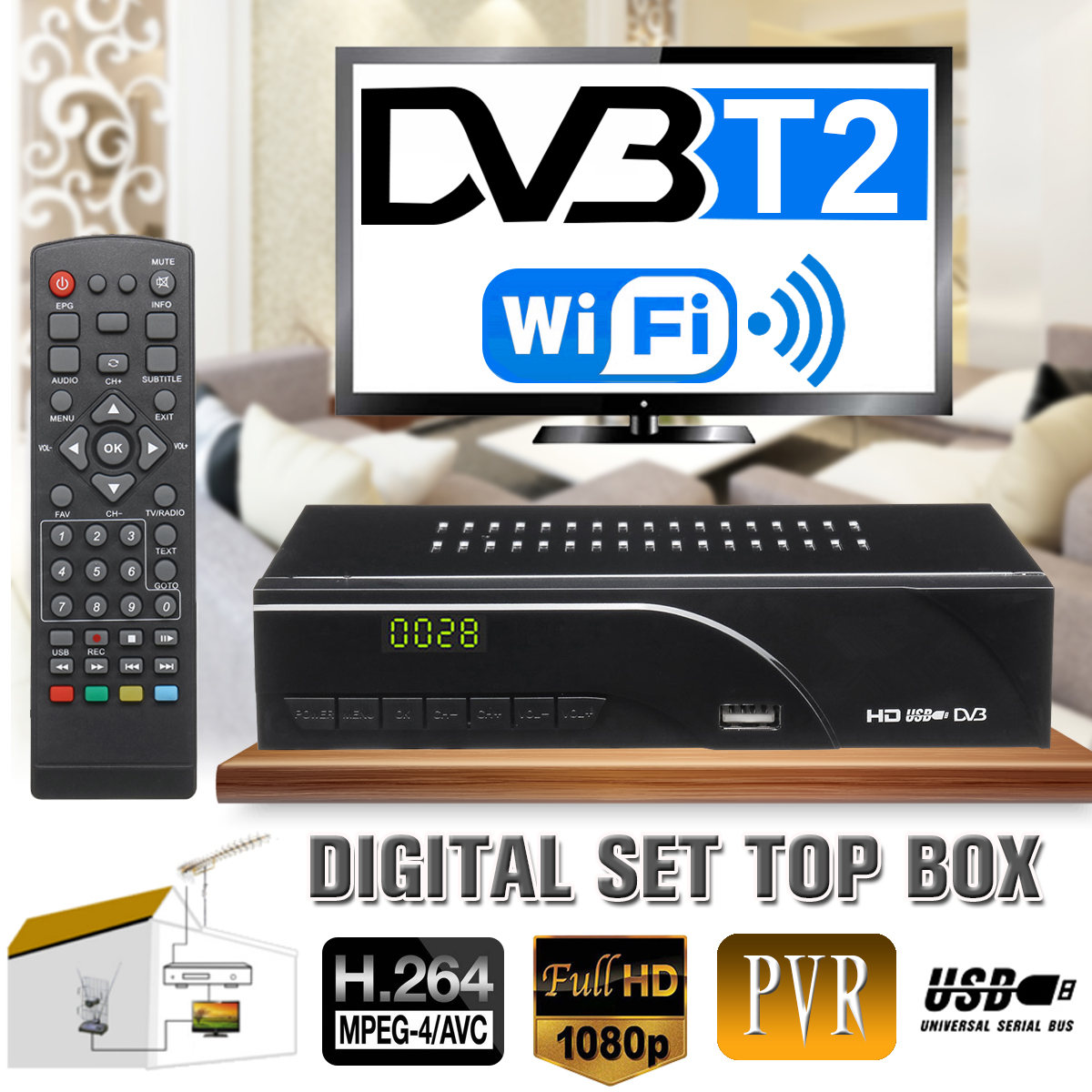 DVB T2 TV Satellite Receiver Full HD 1080P Digital TV Tuner Smart Set Top Box MPEG 4 Only for H.264 for UK Malaysia Singapore