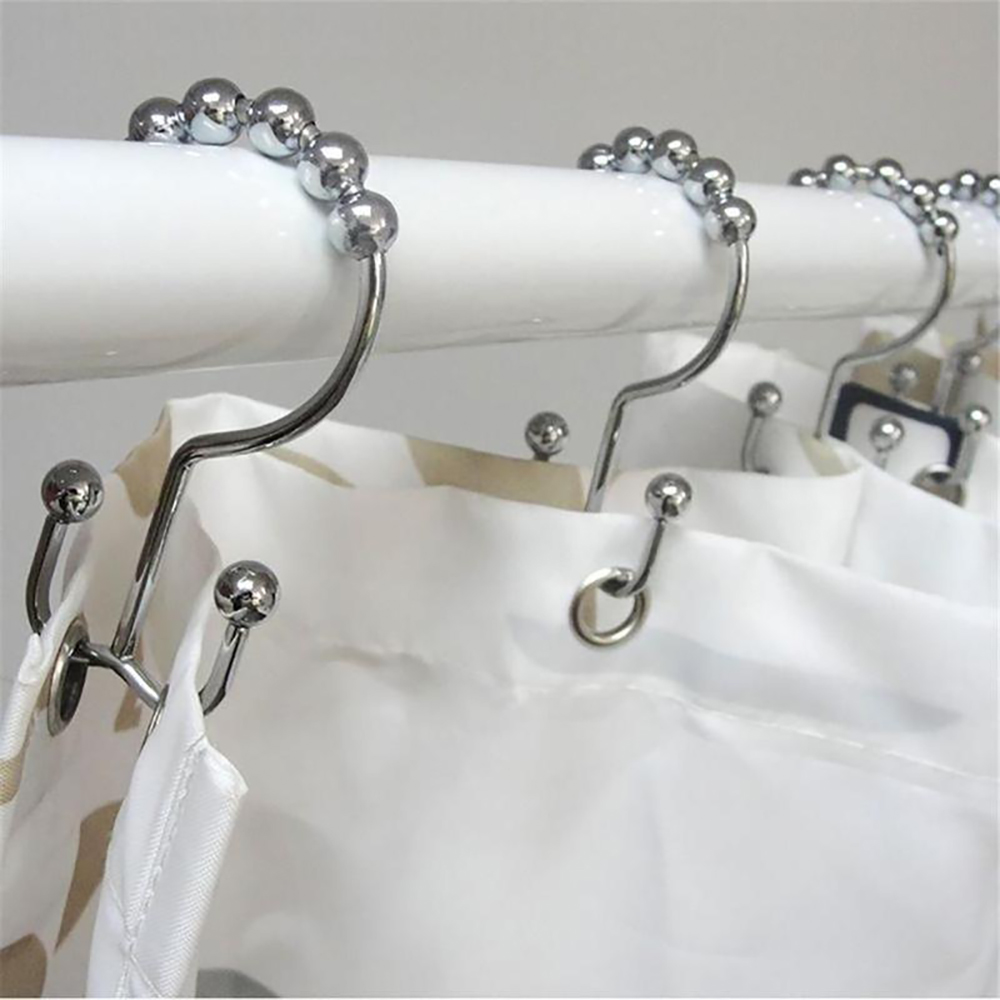 12 Pc Shower Curtain Bathroom Hooks Rings Double Glide Roller Polished Chrome