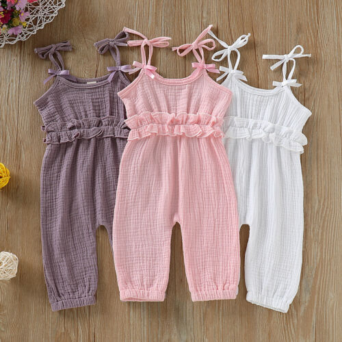 0-24M Newborn Baby Girl Jumpsuit Romper Sleeveless Jumper Solid Ruffled Boeknot Trousers Outfits 2019 New