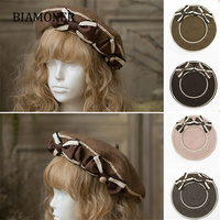 Women Girls 4 Colors Lolita Berets Wool Blend Hat Bow Sailor Style Preppy Chic College Sweet Cap