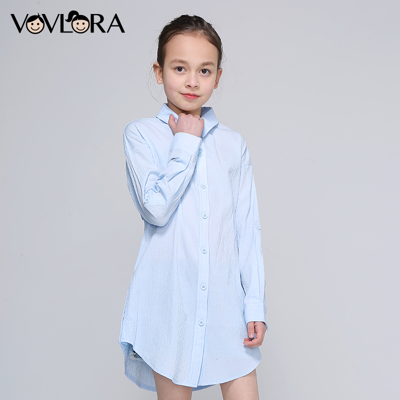Girls Blouse Dress Long Sleeve Spring Print Letter Kids Blouses Cotton Button Clothes Casual 2018 Size 9 10 11 12 13 14 Years цена 2017