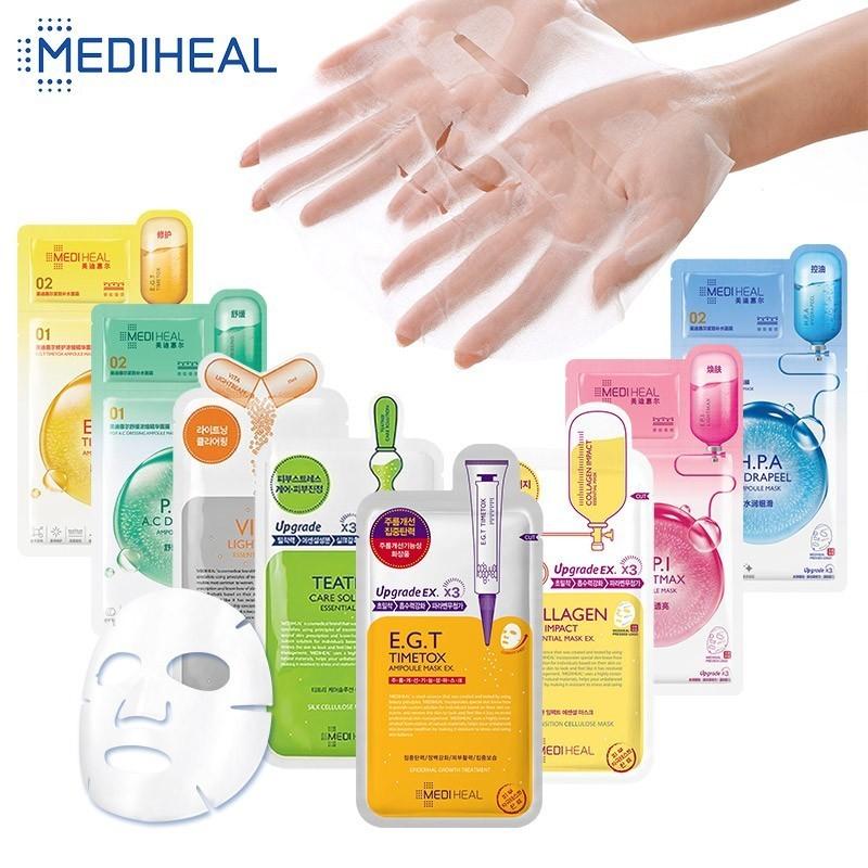 8 Models MEDIHEAL Skin Care Sheet Korean Face Mask Wrapped Mask Anti Wrinkle Oil Control Lifting Firming Women Korean Cosmetics