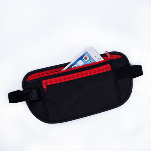 Black Travel Waist Pouch For Passport Money Belt Bag Hidden Security Wallet NEW Waist Packs Black Zippered Waist Security Pouch