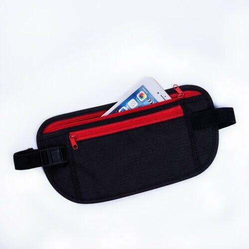 Black Travel Waist Pouch For Passport Money Belt Bag Hidden Security Wallet NEW Waist Packs Black Zippered Waist Security Pouch
