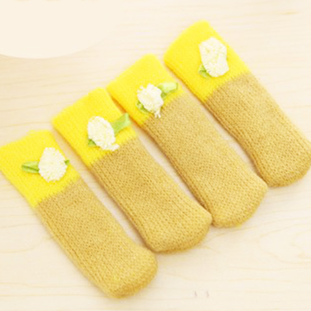 4Pcs Leg Furniture Wool Knitting Cover Chair Candy Color Flower Pads Floor Paw Protector Socks Table Desk Cover