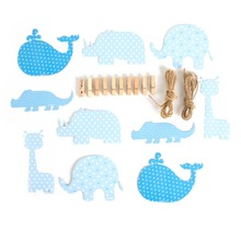 DIY Cute Animals Wooden Clamps For Baby Boy Birthday Shower Lovely Handmade Creative Materials Whale elephant Giraffe Decor