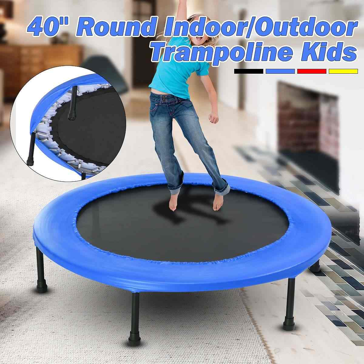 613799e6e6977 40inch Round Kids Mini Trampoline Fitness Rebounder Jogger Home Gym Exercise  Sports Protective Gear