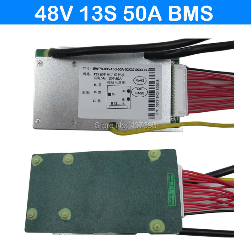 3.6V/3.7V cell 13S 48V 50A BMS Used for 48v 25ah 30ah 40ah 50ah battery 50A continuous With balance function free shipping3.6V/3.7V cell 13S 48V 50A BMS Used for 48v 25ah 30ah 40ah 50ah battery 50A continuous With balance function free shipping