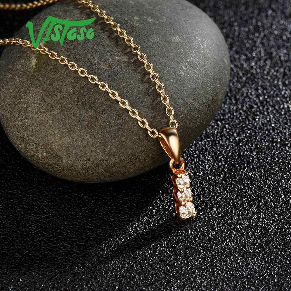 VISTOSO จี้ทองสำหรับผู้หญิงแท้ 14K 585 Rose Gold ประกายเพชรสร้อยคอจี้เครื่องประดับ Fine